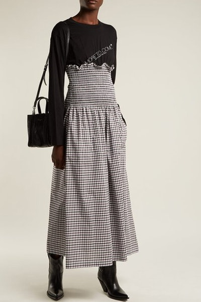 Contrast-Panel Gingham Cotton Dress