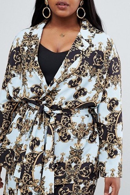 Tailored Soft Scarf Print Relaxed Blazer