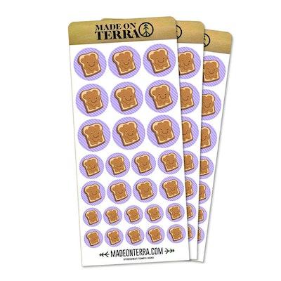 Cute Peanut Butter Toast Removable Matte Sticker Sheets Set