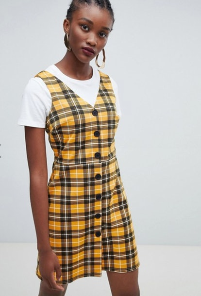 New Look Check Button Through Pinny Dress