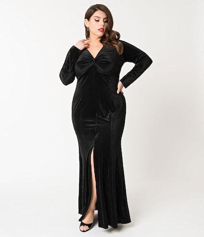 Ribbed Velvet Morticia Gown