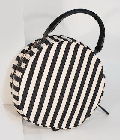 Retro Style Black & White Stripe Fabric Round Handbag