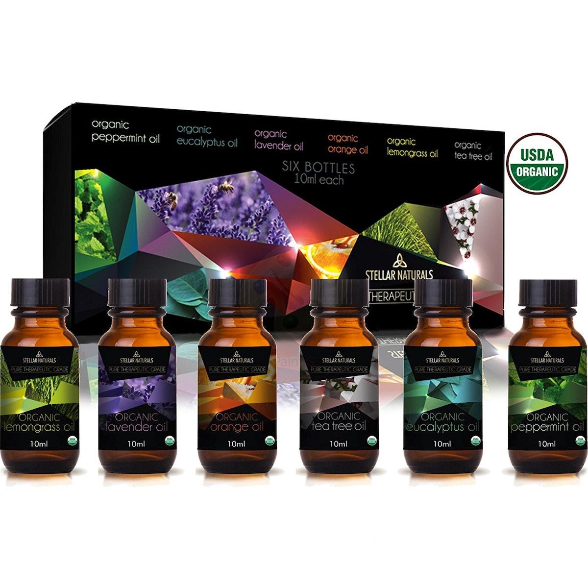 Stellar Naturals USDA-Certified Organic Essential Oils, 10 ml (6 Pack)