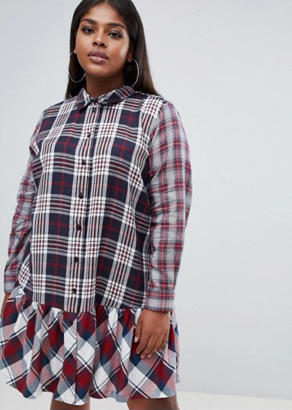 ASOS DESIGN Curve mixed check print pep hem shirt dress