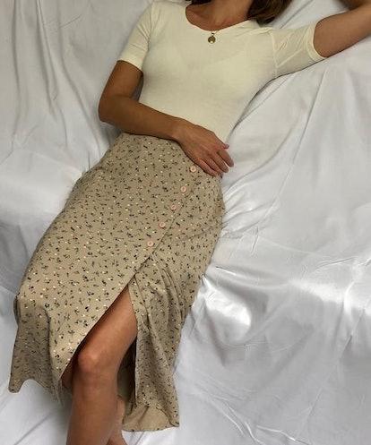Ecru Floral Skirt