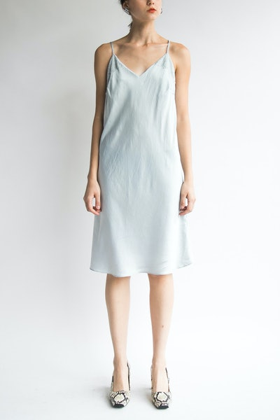 Silver Silk Slip Dress