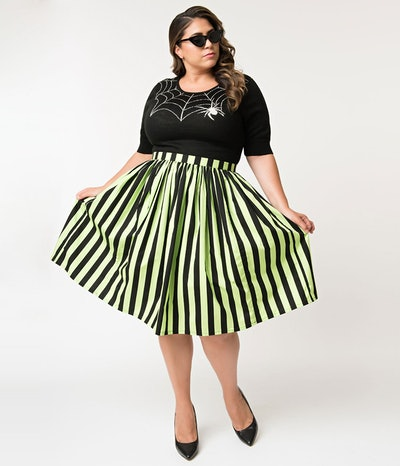 Plus Size Neon Green & Black Striped Gathered Cotton Swing Skirt