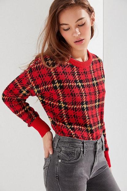 UO Andi Plaid Crewneck Sweater