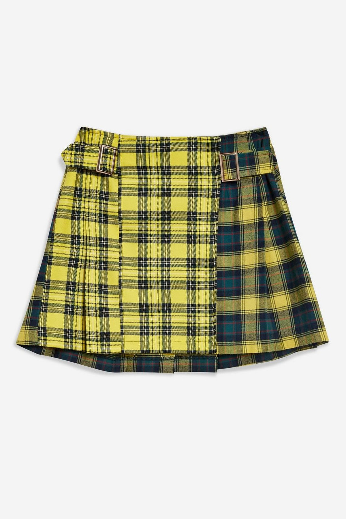 Mixed Check Buckle Kilt Mini Skirt