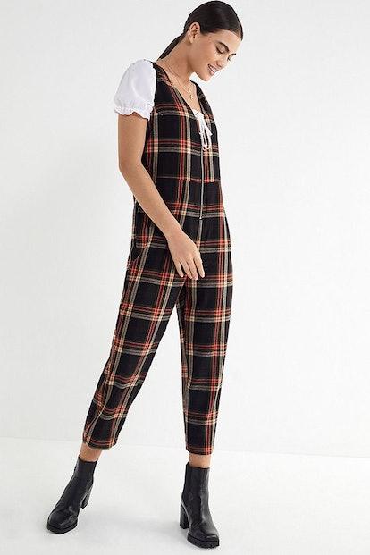 UO Reign Plaid Flannel Jumpsuit