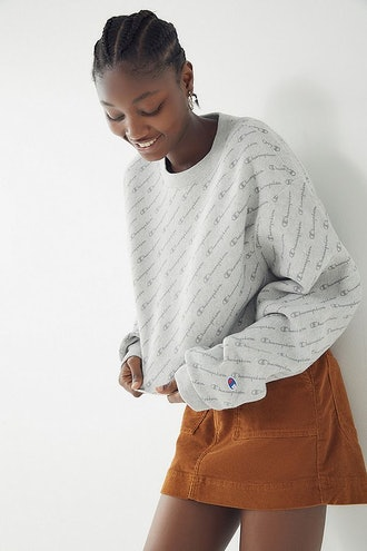 Champion Reverse Weave All Over Print Cropped Sweatshirt