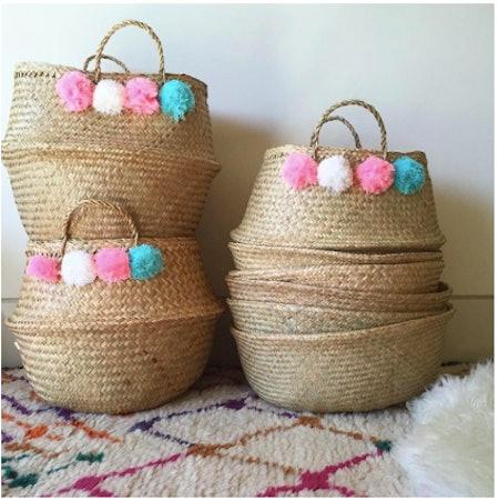 Candelabra Home Pom Pom Belly Basket - Pink/White/Blue