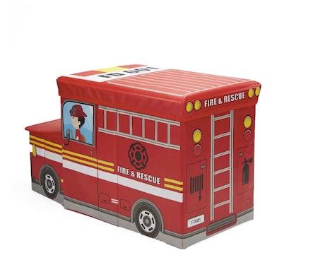 Children's Favorite Cartoon Storage Stool/Chair Fire Fighter Vehicle Toy Box
