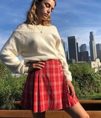 Plaid Garnet Skirt