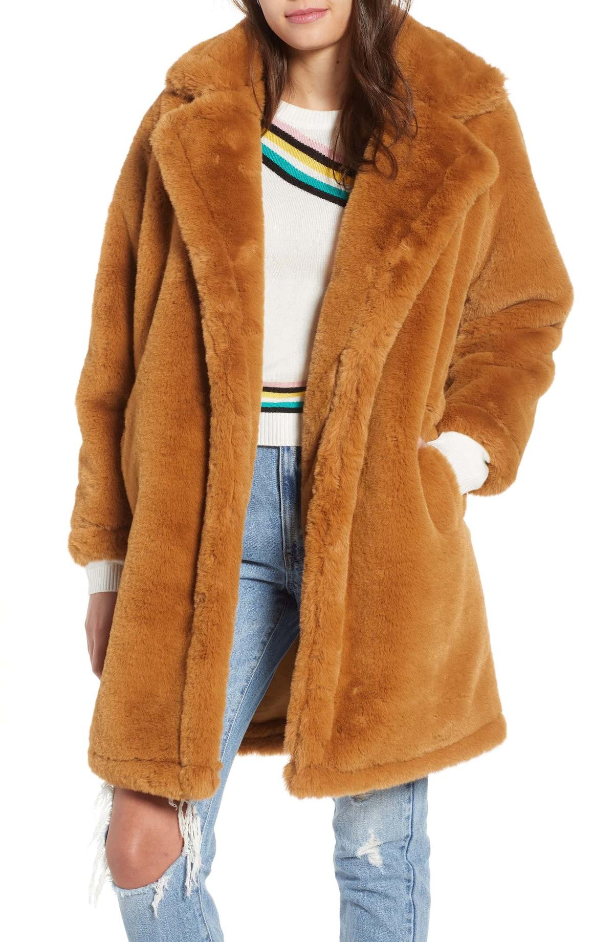 Faux Fur Teddy Coat WOVEN HEART