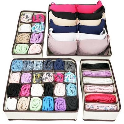 Greenco Collapsible Underwear Drawer Divider Closet Organizer (Set of 4, Beige)