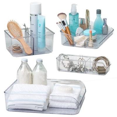 Better Living Set of 4 Vanity Trays for Bathroom Storage