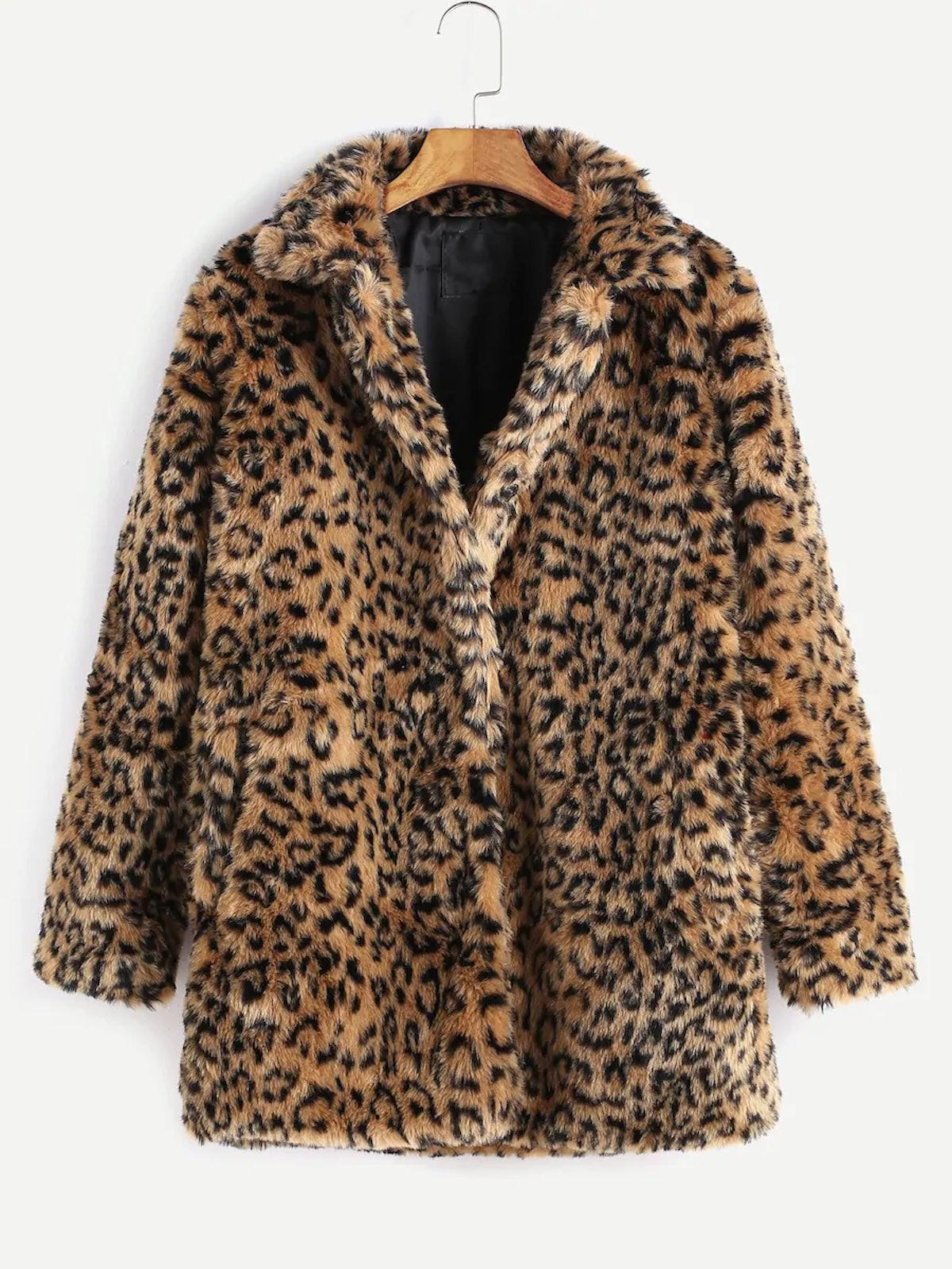 Leopard Button Up Faux Fur Coat
