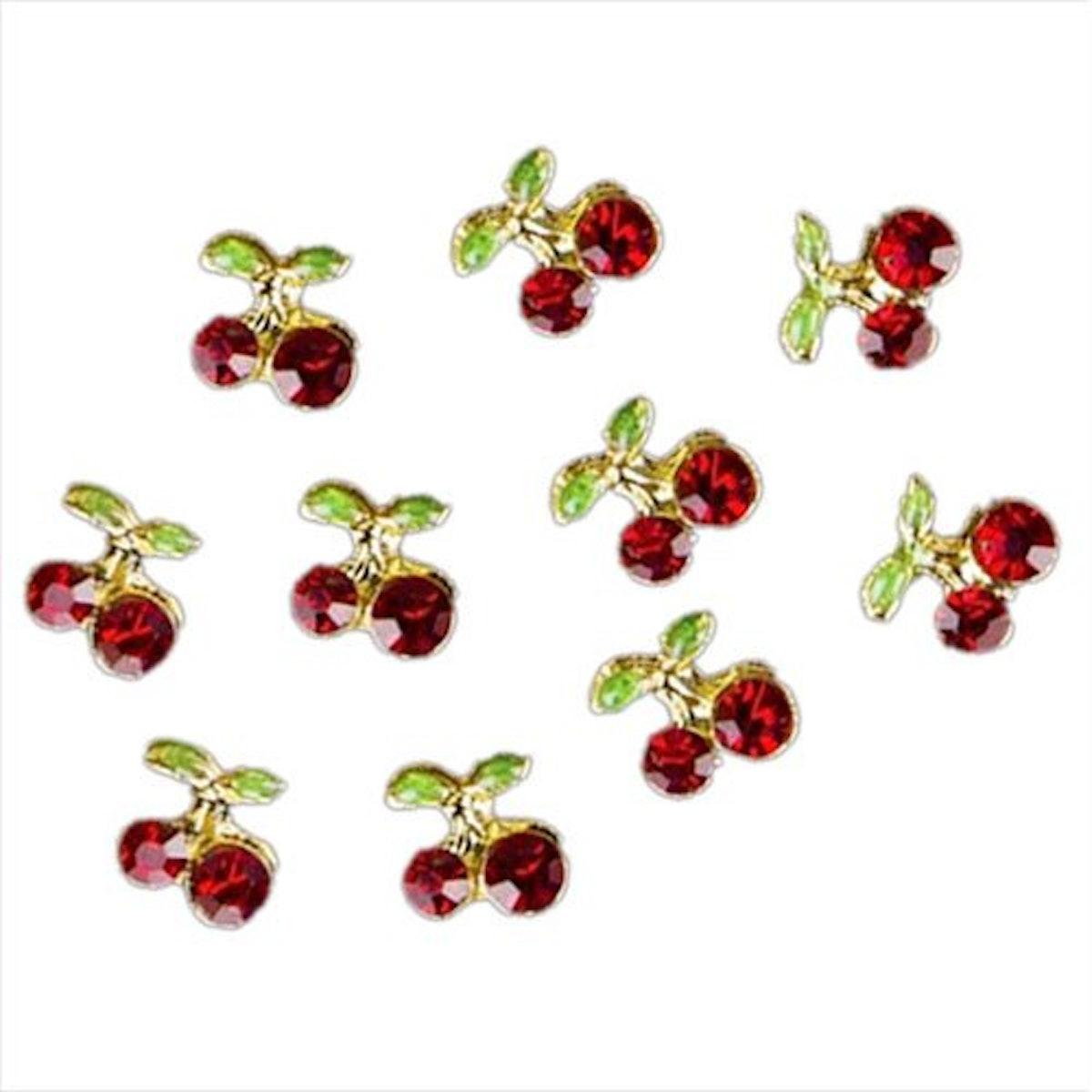 Shiny 3-D Cherry Shape Nail Art