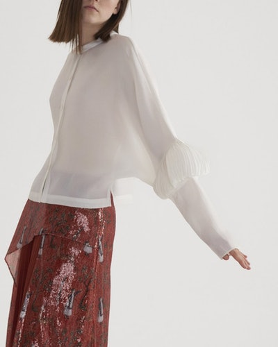 Pleated Elbow Patch Blouse