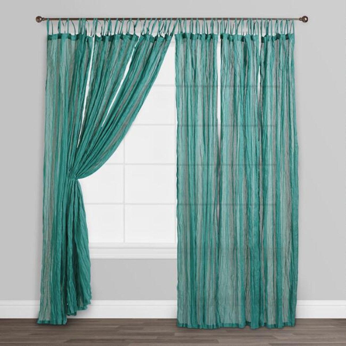 Blue Crinkle Voile Cotton Curtains