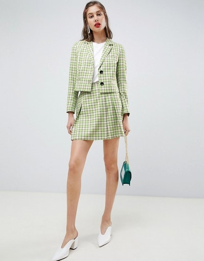 Tailored Mini Skirt In Yellow And Green Check