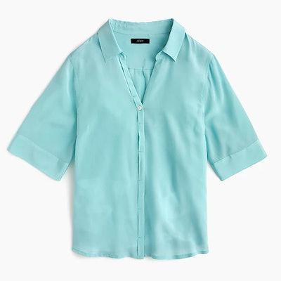 Short-Sleeve Button-Up Shirt In Silk