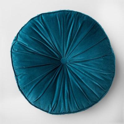 Opal House Floor Pillow Round Velvet in Teal