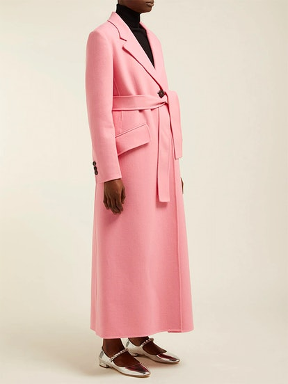 Tie-Waist Single-Breasted Wool Coat