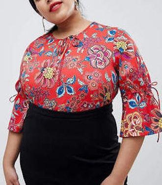 Junarose Tie Detail Floral Top