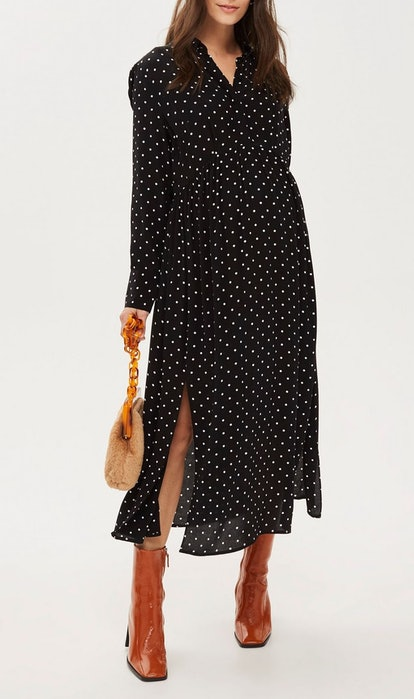 Maternity Spot Pleated Shirt Dress
