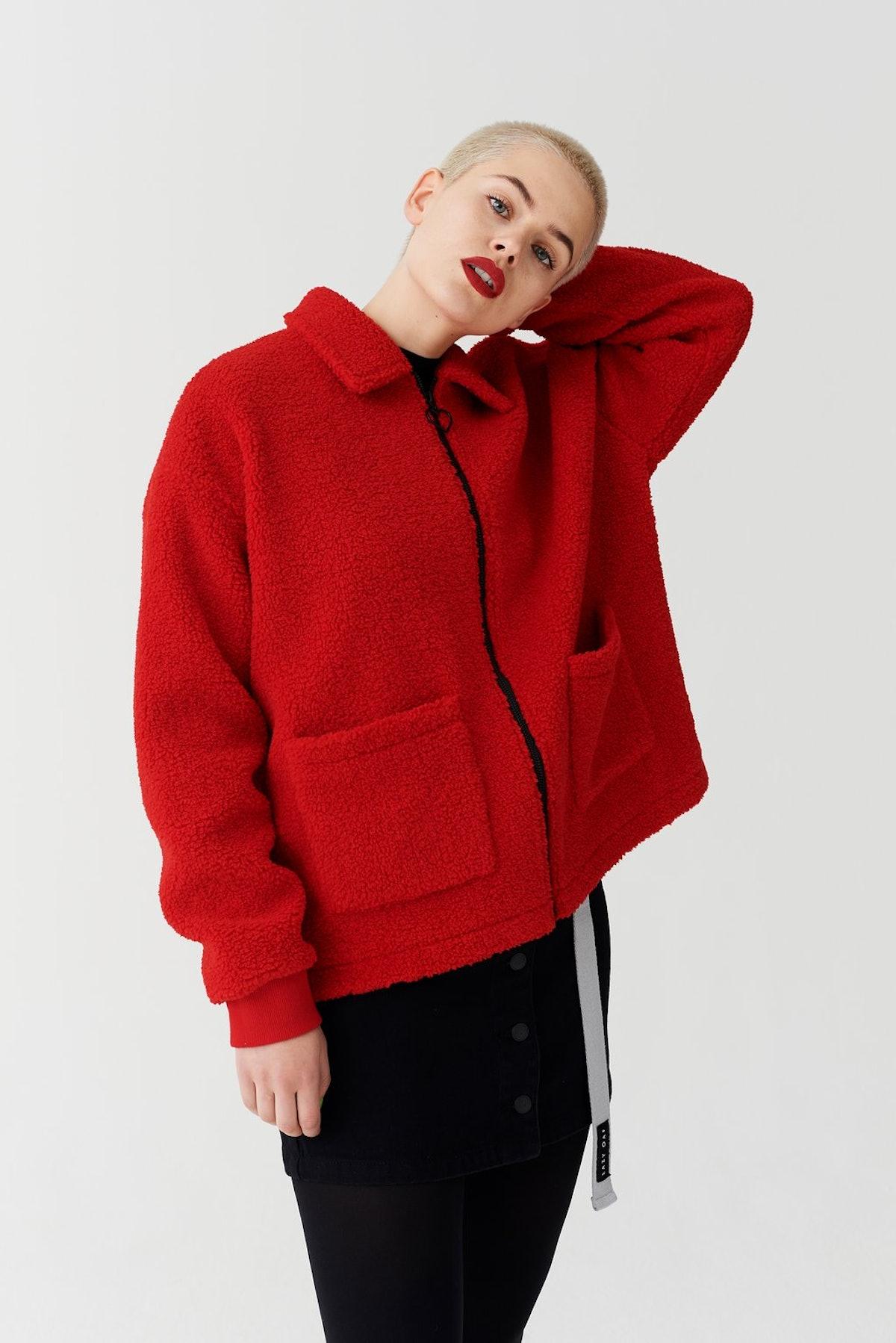 Lazy Oaf Always Watching Zip Fleece Jacket