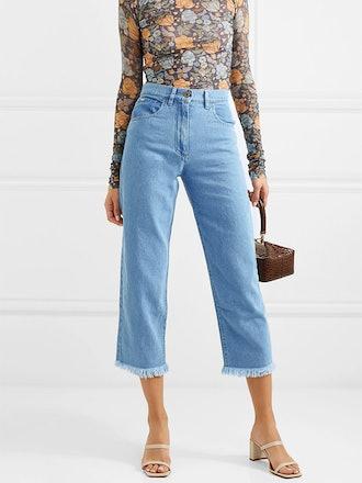 Rupa Frayed High-Rise Straight-Leg Jeans