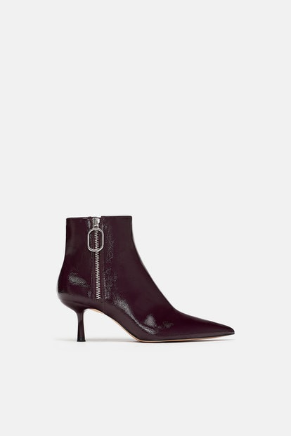 Zara Patent Finish Heeled Ankle Boots