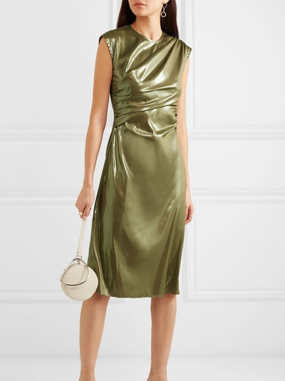 Edie Ruched Lamé Dress