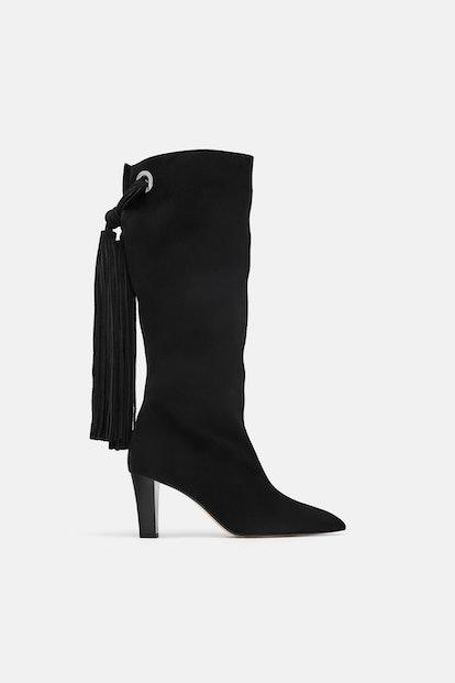 Zara Fringed Leather Heeled Boots