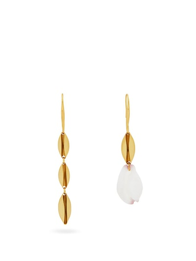 Shell-Drop Mismatched Hook Earrings