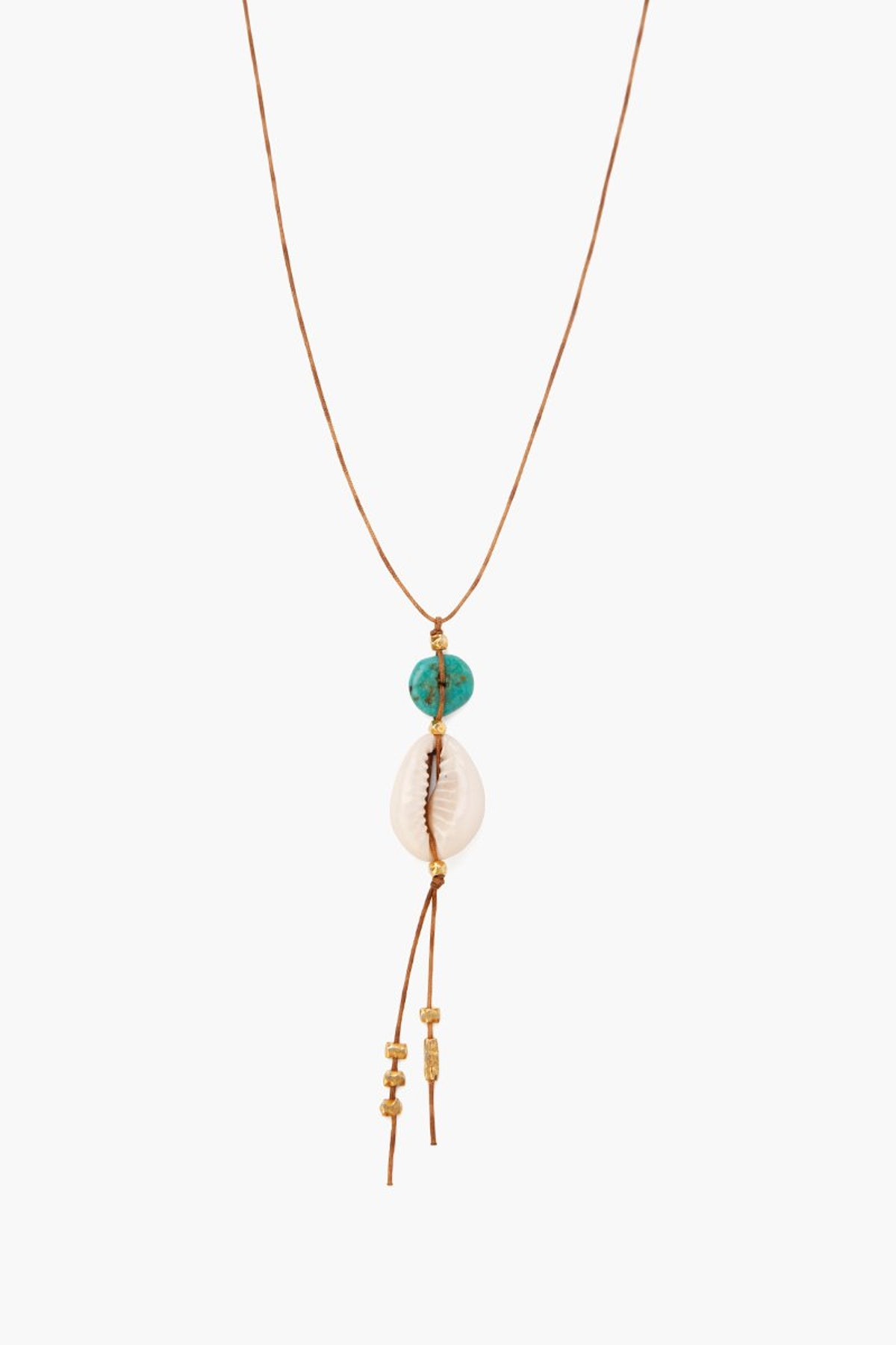 Turquoise Stones And Cowry Shell Long Necklace