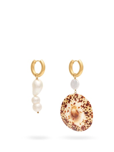 Pearly Mismatched Freshwater Pearl & Shell Drop Earrings