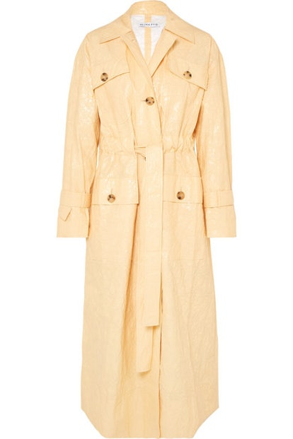 Ava Crinkled Vinyl Trench Coat