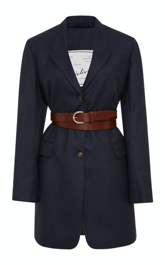 Karen Belted Wool-Crepe Blazer in Blue