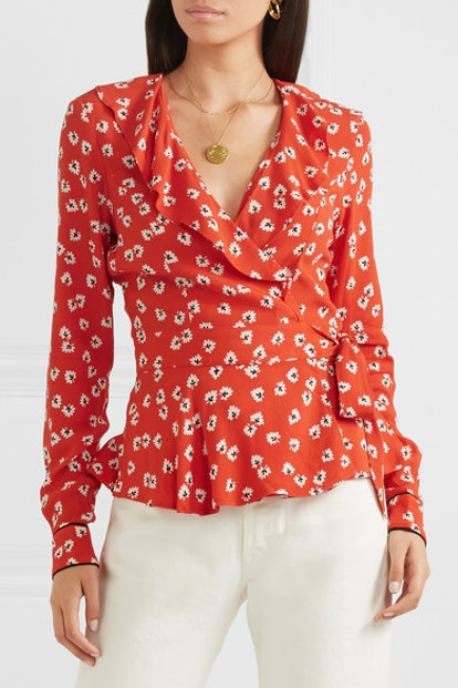 Ruffled Floral-Print Crepe de Chine Wrap Top