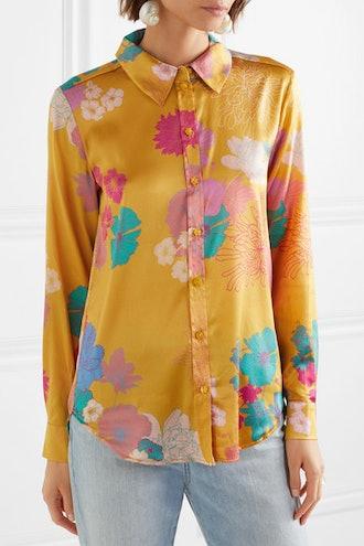 Maxwell Floral-Print Silk-Blend Charmeuse Shirt
