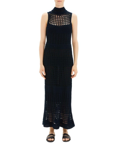 Crochet Sweater Maxi Dress in Deep Navy