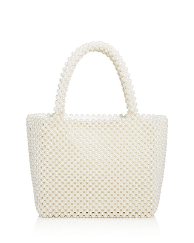 Samira Faux Pearl Beaded Tote in Ivory