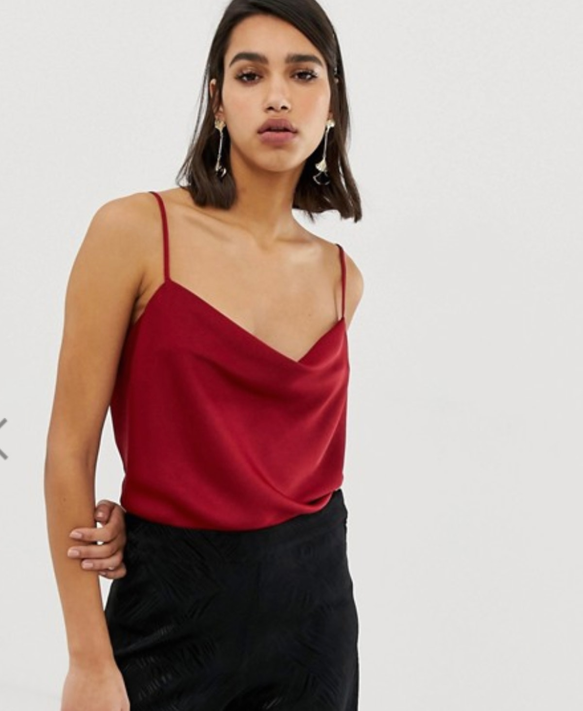 River Island cami top with cowl neck in red