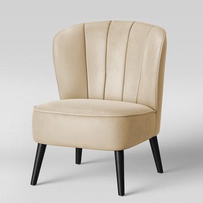 Primrose Chanel Tufted Accent Chair Velvet Ivory - Opalhouse