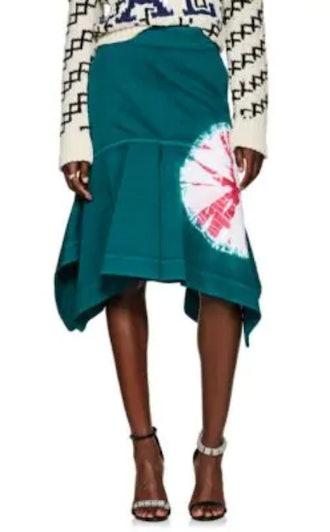 Tie-Dyed Denim Peplum Skirt