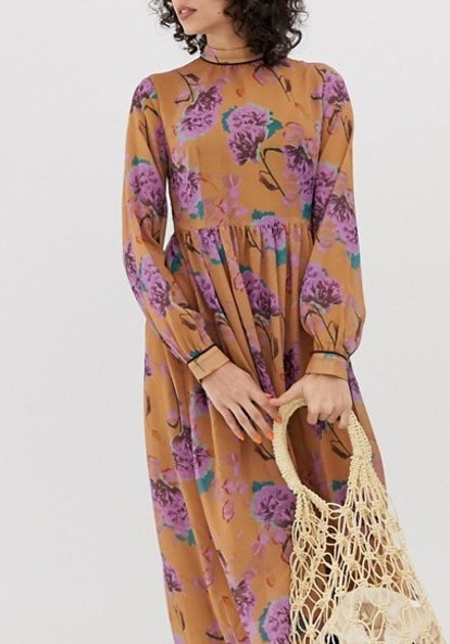 Lost Ink Maxi Smock Dress In Bright fForal Print