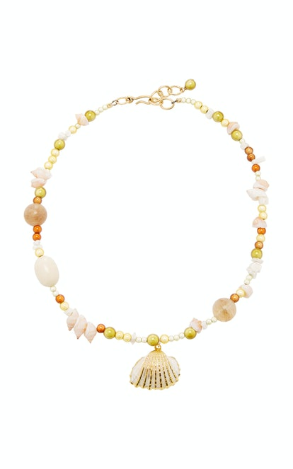 Salt Water Taffy Shell Beaded Pendant Necklace